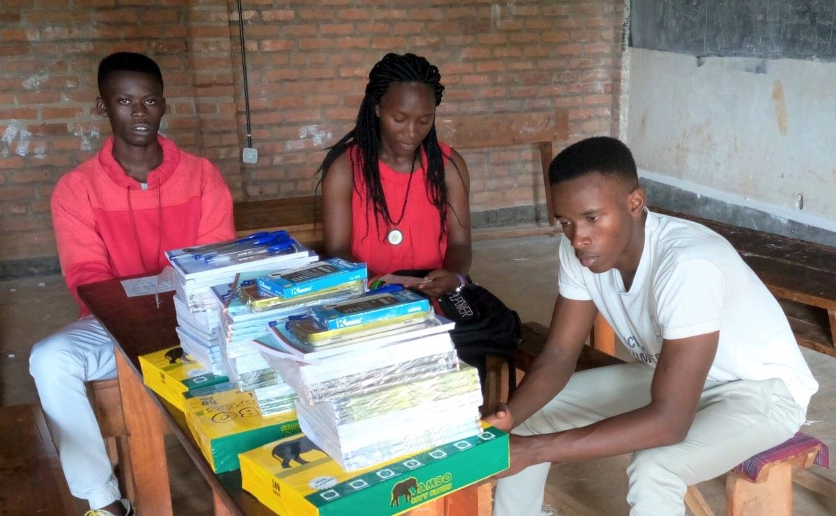 Students with school materials